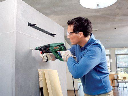 Сверление стены перфораторной дрелью: фото