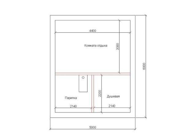 Типовой проект бани 6х5 метров