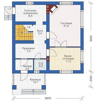 Типовой проект дома из пеноблоков ПБ-123