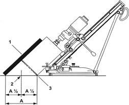 Центровка отверстия планкой под углом: 1) планка; 2) центр бурения; 3) наружный диаметр корончатой фрезы