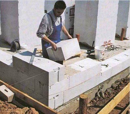 Установка блоков из газобетона своими руками