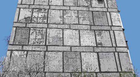 Утепленный керамзитобетонными панелями фасад