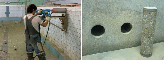В результате резки остается цельный цилиндр из бетонного камня.