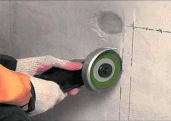 Выполнение штраб при помощи диска малого диаметра.