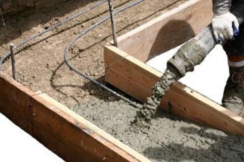 Заливка опалубки бетоном В30