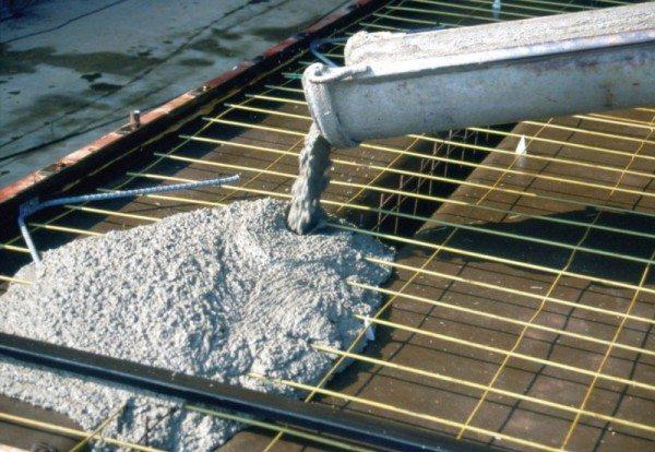 Заполнение бетоном опалубки с заложенной арматурной сеткой
